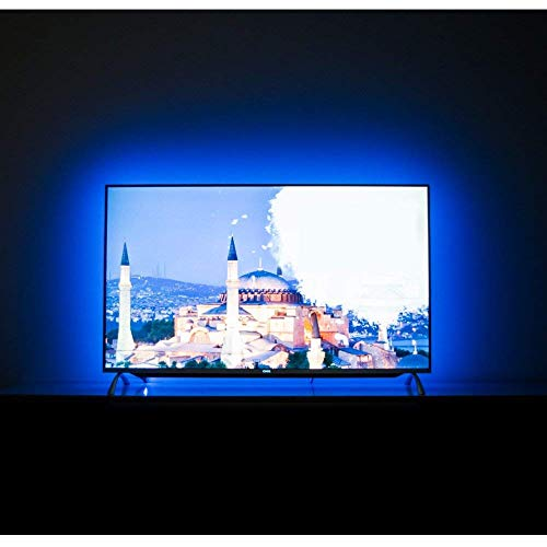 HAMLITE LED TV Backlight 70 75 82 Inch TV Bias Lighting, USB TV Light Strip Behind TV Wall, Customized to Cover 4/4 Sides of 70/75/80/82 TVs Without Dark Spot, RF Remote, 16 Colors, 20 Modes, 18ft