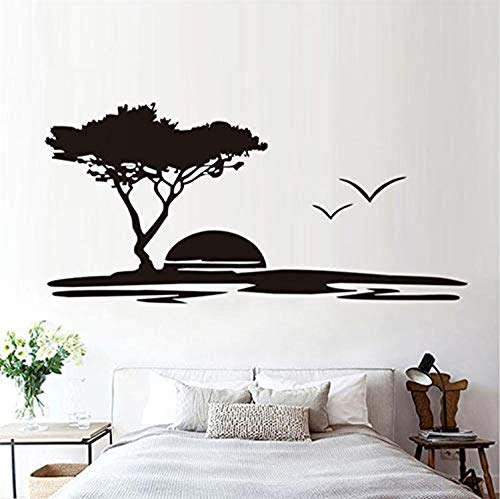(Studio Moll Removable Big Tree and Seagulls Nature Seaside Sunset Scenery Living Room - Wall Decals Mural Decor Vinyl Z11849)