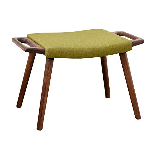 Simple Solid Wood Shoes Bench Fabric Sofa Stool Dressing Table Stool Home Fashion WEIYV (Color : Brown-Green, Size : 603640cm) ()