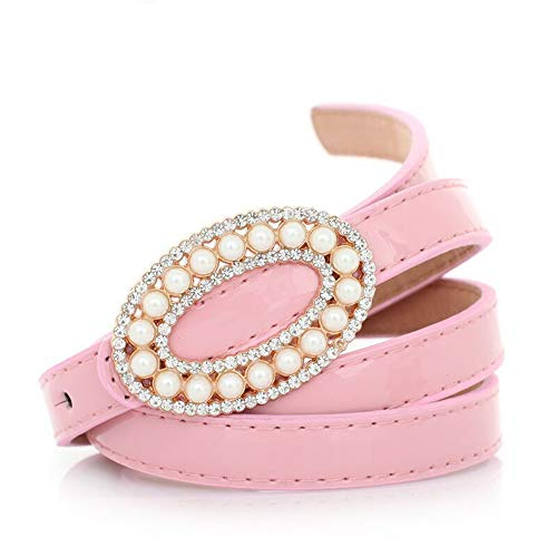 - Sdcvopl Belt for Women Ladies Casual Sweet Metal Oval Pearl with Rhinestone Buckle Versatile Patent Leather Belt Women Leather Belt (Color : Pink)