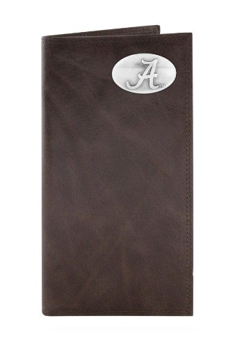 - NCAA Alabama Crimson Tide Brown Wrinkle Leather Roper Concho Wallet, One Size