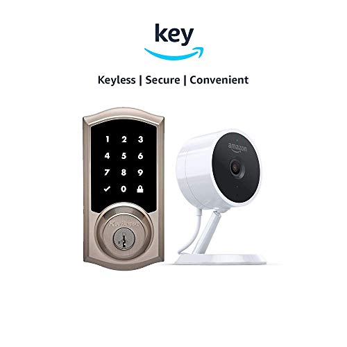 Kwikset 916 SmartCode ZigBee Touchscreen Smart Lock + Amazon Cloud Cam | Key Smart Lock Kit (Traditional Style in Satin Nickel)