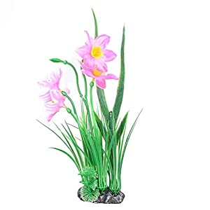 eroute66 Artificial Narcissus Aquarium Plant Ornaments Non-Toxic Fish Tank Accessories - Pink 91