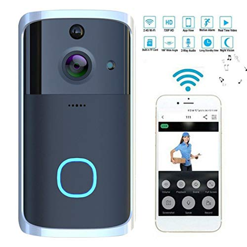 HOTUEEN Smart Home WiFi Video Doorbell 720P HD Security Camera with Night Vision PIR Motion Detection Wireless doorbell