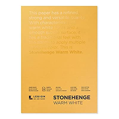 Legion Stonehenge Pad, Cotton Deckle Edge Paper, 5 X 7 inches, Warm White, 15 Sheets (L21-STP250WW57)