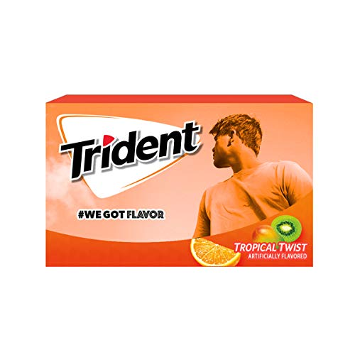 Trident Tropical Twist Flavor Sugar Free Gum-12 Packs (168 Pieces Total) Packaging May -