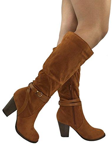 - Spirit Moda Women's Fiona Stylish Tall Boots Mid Knee High Chunky Heel, Cognac-4, 5.5