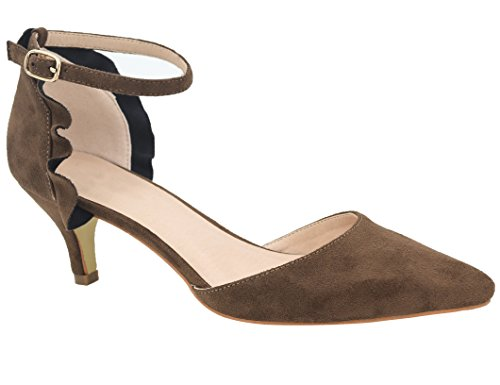 Brown Kitten Heels Slingback Dress Pumps Size 6 ()