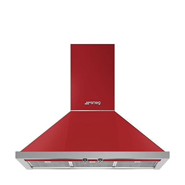 "Smeg Portofino KPF36URD 36"" Chimney Hood, Red 1"