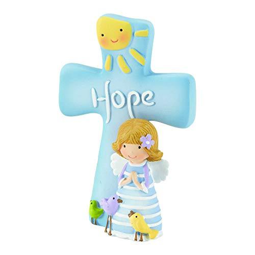 (Dicksons Hope Angel Figurine Sky Blue 3 x 4 Resin Stone Tabletop Cross)
