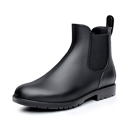 Unisex Couple Women's Mens Short Ankle Rain Boots Slip On Winter Chelsea Booties with Elastic Goring Black EU37-Women US 6.5 = Men US 5.5
