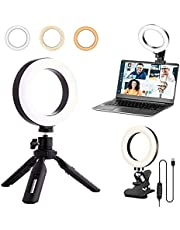 TOPBESQ 2 in 1 Video Conference Lighting Kit with Tripod Stand & Clip on Laptop Zoom Light, Ring Light Zoom Lighting for Remote Working/Live Streaming/Video Conferencing/YouTube Video/Makeup