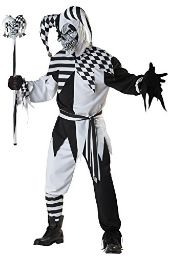 Jester Halloween Costumes Adults (California Costumes Men's Platium Collection - Nobody's Fool Adult, Black/White,)