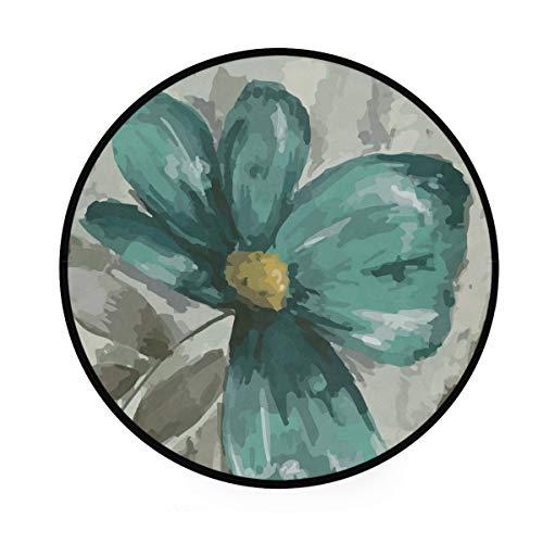 Teal Grey Vintage Flower Petal 36 Inch Round Rug Non-Slip Area Rug Foam Mat Super Soft Carpet Floor Mat Living Room Bedroom