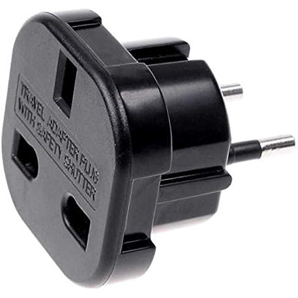 OcioDual Adaptador Enchufe 3 Pin UK Inglés Reino Unido Tipo G a 2 Pin Europeo UE Modelo C E F Universal Adapter Corriente Negro: Amazon.es: Bricolaje y herramientas