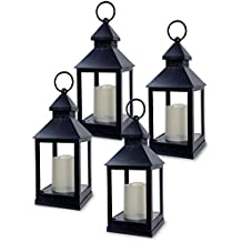 "BANBERRY DESIGNS Decorative Lantern - Set of 4-5 Hour Timer - 11"" H Black Lanterns with Flameless Candles Included - Indoor/Outdoor Lantern Set"