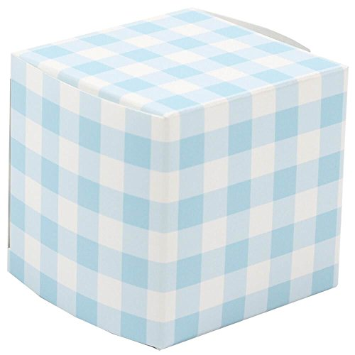 JAM PAPER Glossy Gift Boxes - 2 x 2 x 2 - Blue Gingham Glossy - 10/Pack
