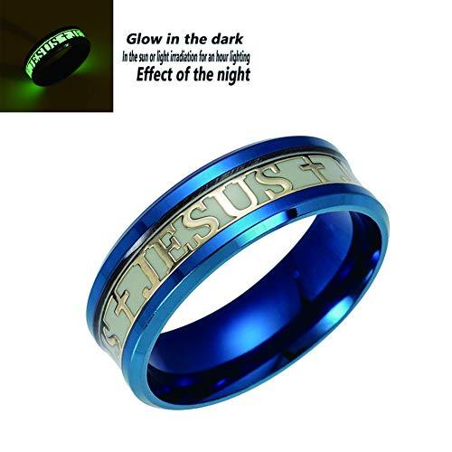 JAJAFOOK Men Wide 8mm Luminous Effect Stainless Steel Luminous Cross Jesus Band Ring Glow in the Dark ()