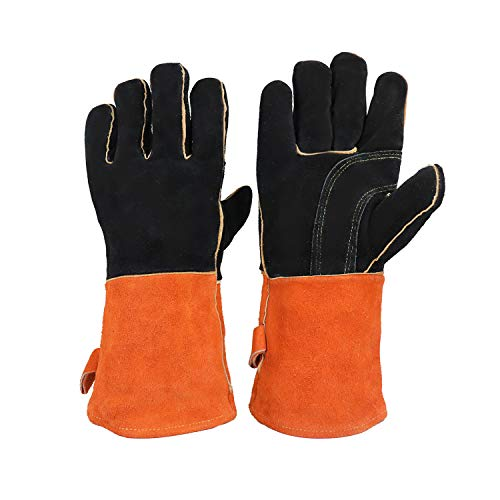 Leather Welding Gloves Heat & Fire Resistant Work Glove for Mig,Tig Welder,Grilling,BBQ,Oven,Fireplace,Wood Stove,Forge,Baking,Gardening - Insulated Cotton Lining,14 inch(Black)