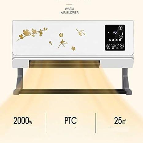 Deshumidificador portátil del hogar, cortina de aire montado en la pared digital del ventilador del calentador con 2 ...
