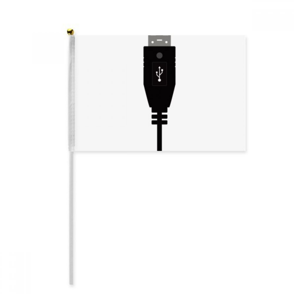 Black USB Plug Charging Cable Pattern Hand Waving Flag 8x5 inch Polyester Sport Event Procession Parade 4pcs