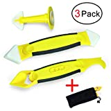 Infree 3 Pieces Caulking Tool Kit,Yellow Silicone Sealant Finishing and Replace Removal Tool with a Caulk Nozzle