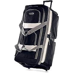 WMB Travel Pro 41PQxJgBo8L._SS247_ Olympia 8 Pocket Rolling Duffel Bag, Black, 22 inch