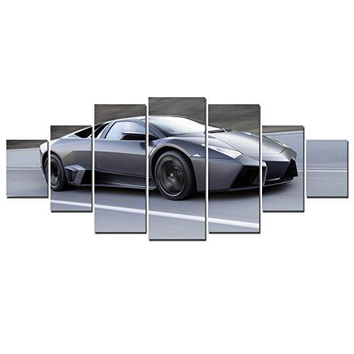 Dual Sport Canvas (Startonight Huge Canvas Wall Art Classy Sport Car, USA Large Home Decor, Dual View Surprise Artwork Modern Framed Wall Art Set of 7 Panels Total 39.37 x 94.49 inch)
