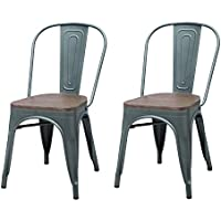 Asense Tolix Style Dining Chair 33 In Height (Gunmetal, Set of Two)