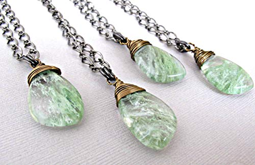 Moss Agate Necklace - Natural Stone Necklace - Moss Agate Pendant - Boho Stone Jewelry - Healing Stone Pendant - Green moss Agate Jewelry, 18 inch chain - Moss Agate Necklace