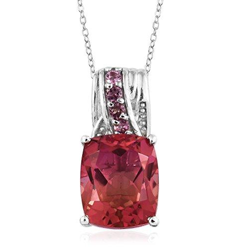 Sunset Pendant Quartz (Sunset Quartz, Pink Tourmaline Platinum Over Sterling Silver Pendant With Gift Chain 5.2 cttw Size 20