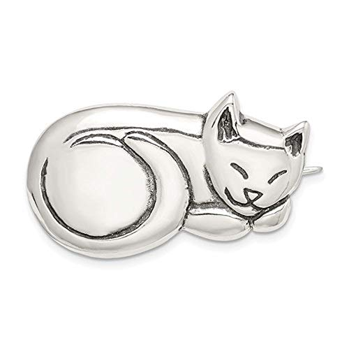 Solid .925 Sterling Silver Antiqued Sleeping Cat Pin 21 mm