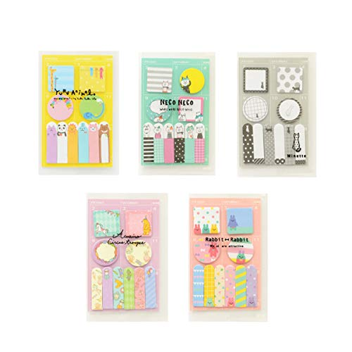Cute Cartoon Sticky Notes Index Tab Flags Memo Pads Page Maker Self-Stick Label Daily Weekly Planner Schedule Stickers(5Packs, Total 750sheets)