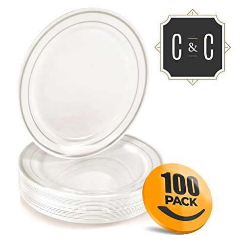 Plastic Dessert Plates 6 Inch - Fancy Plastic Dessert Plates ~ by Croft & Colony (100 Pack - Silver Rings)
