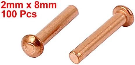 uxcell 銅ソリッドリベット 2mm x 8mm 円形ヘッド 9mmの長さ 100個入り ハードウェア ゴールドトーン