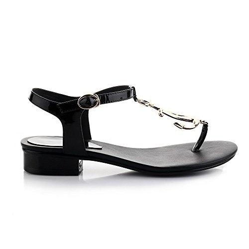 Allhqfashion Dames Split Teen Lage Hakken Rundlederen Stevige Sandalen Met Metalen Gespen Zwart