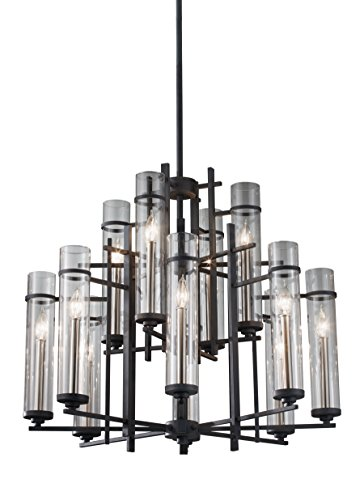 Murray Feiss F2629/8+4AF/BS Ethan 12-Light Multi Tier Chandelier, Antique Forged Iron/Brushed Steel (Steel Light Twelve Chandelier)