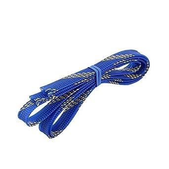 eDealMax 10mm Dia apretado trenzado PET Funda extensible del Cable del Abrigo de la envoltura Azul