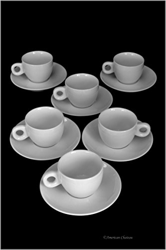 Set 6 European White Porcelain Demitasse Espresso Cups with Saucers & Fat Handles
