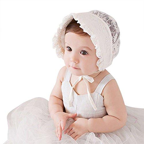 - Baby Girl Lace Beanie Hat Infant Princess Hat Baby Summer Sun Bonnet Cap Dandelion Flower, Rice White