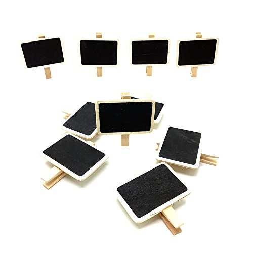 HUELE 24 PCS Chalkboards blackboards with Wooden Blackboard Clip Message Board Signs and Labels Clips(2''x2.76'') by HUELE