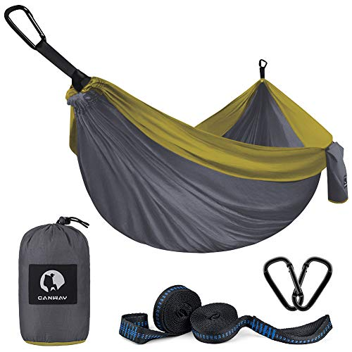 Double Camping Hammock 115 x 75, Ultralight Portable Anti-Tear Parachute Nylon Hammock with Tree Straps, XL Large for 2 Person for Outdoor Backpacking Travel, Beach, Yard