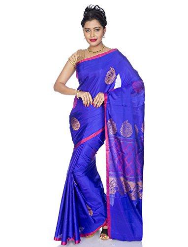 Shop Pure Silk Sarees - Mandakini - Indian Women's Kanchipuram - Handloom - Pure Silk Saree (Deep Blue)