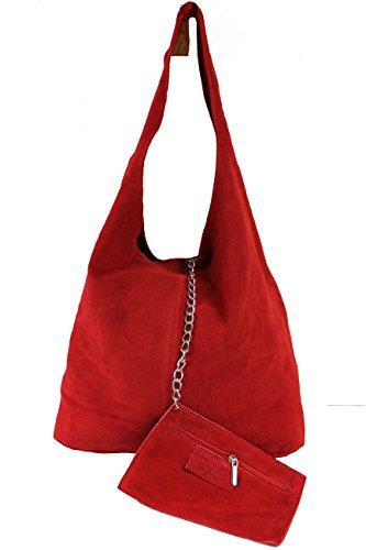 Schultertasche Henkeltasche Handtasche Damentasche Beuteltasche Shopper cognac Wildleder