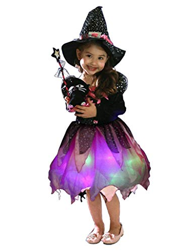 Wantschun Girls Led Light Up Witch Costume Set Fairytale Dress-up Witch Dress + Hat + Candy Bag + Magic stick (Tag size 90)