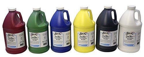 Sax True Flow Heavy Body Acrylic Paint, 1/2 Gallon, Assorted Colors, Set of 6 Sax True Flow Acrylics