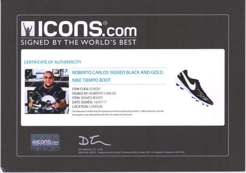Roberto Carlos Real Madrid Autographed Black and Gold Nike Tiempo Soccer Cleat ICONS Fanatics Authentic Certified
