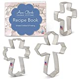 easter decorating ideas Cross Cookie Cutter Set with Recipe Booklet - 3 piece - Large Cross, Fancy Cross - Ann Clark - Tin Plated Steel