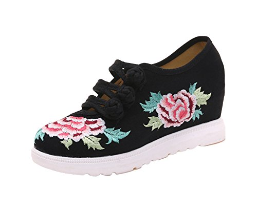 AvaCostume Womens Hibiscus Embroidery Frog Frog Frog Design Wedge Heel Sneaker B072299CK1 Shoes cb6b3c