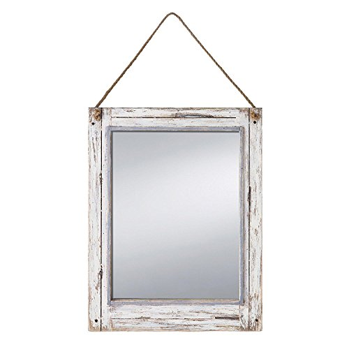 Foreside Home & Garden FMIR06228 Rustic Mirror (Distressed Mirror White)